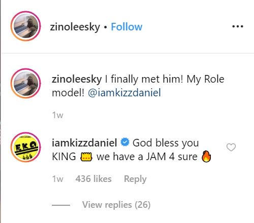 Kizz Daniel Promise To Feature Zinoleesky On A New Song