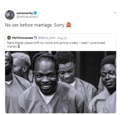 Naira Marley Replies a woman who requested that he impregnate her